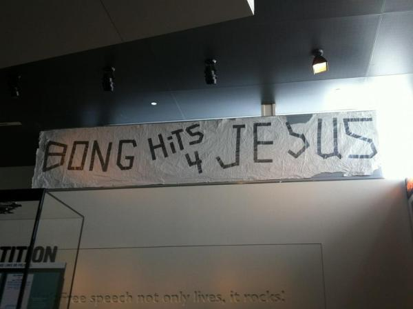 Joseph Frederick's infamous sign, now in the Newseum (Washington, D.C.)