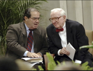 """So lemme get this straight.  You wrote a book about performing CPR on the Constitution, brought it back to life, cut the parts you don't like and edited it?"" said Justice Scalia.  ""Mmhmm...like a boss,"" replied Justice Stevens."